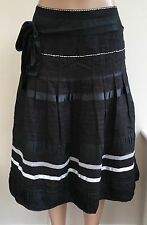 *NEW*RRP £65 Monsoon Black White Ribbon Trim Silk Tie Skirt Size 14  #SX2