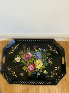 "Vintage Nashco La Verne Large Hand Painted Serving Tray Lattice 27""X 19"""