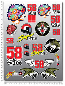 Marco Simoncelli 58 Super Sic decals set 9.1x12.2 in sheet 20 stickers motogp