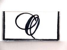 Fancy Black Initial O on White Cotton & Vinyl checkbook cover FO-2 New Handmade