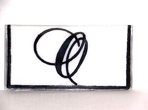 Fancy Black Initial O on White Cotton & Vinyl checkbook cover FO-2  Handmade