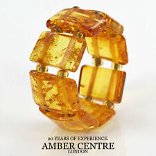 Rich Yellow GERMAN BALTIC AMBER Handmade Stylish Elastic Ring RB018 RRP £35!!!