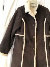 L.L. Bean Women's Coat Jacket Med   DARK BROWN Sherpa Faux Suede ShEARLING