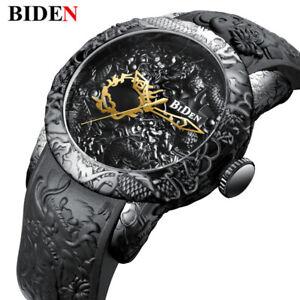 Men Watches 3D Engraved Dragon Relogio Masculino Luxury 2018 Top Brand Quartz