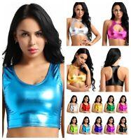 Sexy Women Metallic Tank Tops Leather Crop Top Vest Bustier Shiny Dance Clubwear