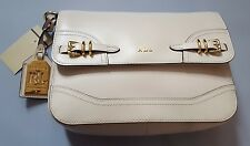 LAUREN RALPH LAUREN CREAM LEATHER MESSENGER CROSSBODY BAG