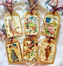 Set of 6 Hang Tags~Primitive Vintage Patriotic~Gift Tags~Scrapbooks~Cards~#86