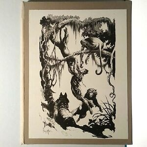 FRANK FRAZETTA, TWO PLATE CLOTH AND BOARD CAZEDESSUS PELLUCIDAR FOLIO, NM-M,1968