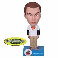 FUNKO BIG BANG THEORY WACKY WOBBLER BOBBLE HEAD SHELDON WHITE SUPERMAN SHIRT