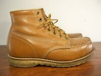 Work N Sport Classic Moc Leather Work Steel Toe Boots Crepe Sole Men's Size 6