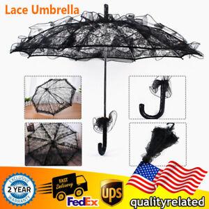 Lace Umbrella Wedding Parasol Black for Bridal Shower Decor Theatre Costume HOT!
