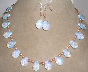 Pink pearl / Sri Lanka Moonstone Drops Pendant Necklace Earrings Jewelry Set