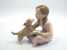Lladro Figurine #8033 Don't Be Impatient, Girl w/ Book in Lap & Dog, Mint in Box