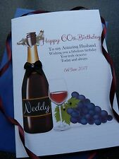 Handmade Personalised Birthday Card Red Wine  18th 21st 30th 40th 50th 60th C255