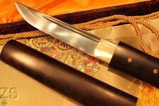 Japanese Handmade Double Pegged Ebony Wood Folded Steel Tanto Sword Sharp