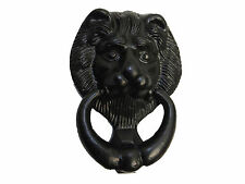"Lion Head Door Knocker in antique black cast iron Tudor Wrought Iron Style 5"""
