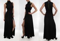 PUNK Gold Spike Studded Shoulder Turtleneck Double Slit Long Maxi Dress S/M/L