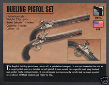 DUELING PISTOLS Flintlock Guns 1700s .50 Atlas Classic Firearms PHOTO CARD