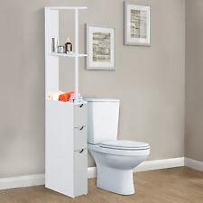 Meuble de salle de bain côté grand meuble de rangement étagère armoire Blanc Meuble avec Tiroir