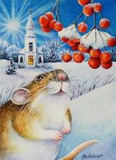 ACEO Limited Edition Print Winter Christmas Mouse Church Snow Berries J. Weiner