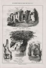 OLD 1879 PRINT SKETCHES OF WANDERINGS BY THE WYE RAGLAN CHEPSTOW CASTLE  b118