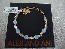 Alex and Ani CLOUD SWAROVSKI BEADED BANGLE Shiny Gold New W/Tag Card & Box