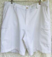 IZOD Golf Extreme Function Shorts Mens Size 38 White Flat Front Zip