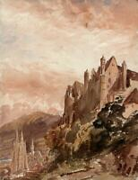 MARBURG LANDSCAPE - GERMANY Watercolour Painting 19TH CENTURY - GRAND TOUR