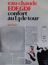 PUBLICITÉ 1968 EAU CHAUDE EDF.GDF CONFORT AU 1/4 DE TOUR - ADVERTISING