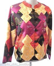 Chicos multi color blazer mandarin silky coat jacket button top Chico 1 S M VTG