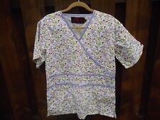 Beverly Hills Uniforms Heart Print Scrub Medical Nursing Uniform Top Size Small