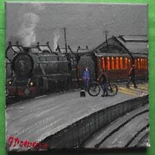 Original BEST Oil Painting Famous Artist James Downie : The Platform Bike