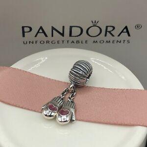 NEW! Authentic Pandora Winter Mittens Pink Enamel Charm #791181EN46