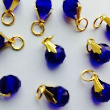 10Pcs Sapphire Crystal Gold P Jewelry Making charm fit Chain Bracelet & Necklace