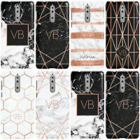 PERSONALISED ROSE GOLD GEOMETRIC MARBLE WITH INITIALS PHONE CASE COVER FOR NOKIA
