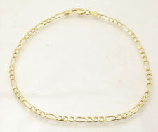 Italian Solid Royal Figaro Ankle Bracelet Anklet 14K Yellow Gold Clad Silver