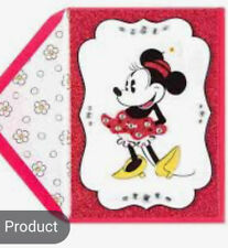 PAPYRUS DISNEY MINNIE MOUSE WITH FLOWER GEMMED GLITTER BIRTHDAY CARD