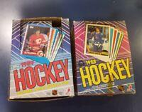 1987-88 O-Pee-Chee OPC + 1989-90 Topps Empty Wax Box with Gretzky Lemieux