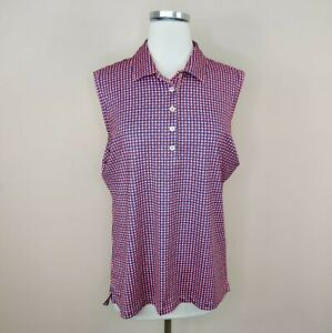 Peter Millar Women's Sleeveless Golf Shirt Top UF 50 Pink Print L Large