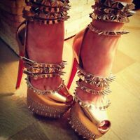 Punk Nieten Damen Peep Toe Plattform High Heels Nachtclub Stilettos Schuhe Sexy