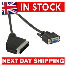 2m Scart to VGA cable/lead Scart Male to VGA Female  Black QUALITY UK STOCK