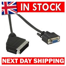 2 M SCART A Cable VGA/plomo SCART macho a VGA Hembra Negro Calidad Reino Unido Stock