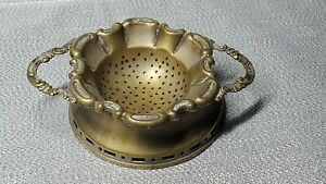 VINTAGE DOUBLE-HANDLED TEA STRAINER WITH HOLDER  MADE IN ENGLAND