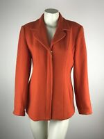Jordan & Cole Orange Lined Wool Zip Up Jacket Coat Blazer Pockets Women's Size M
