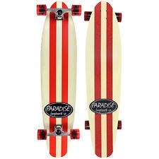 "Paradise Longboard Complete 9"" x 44"" Red Pinstripe Kicktail Shape"