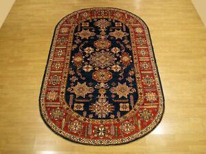 5 x 8.6 High Quality Handmade Rare Oval Shape Afghan Kazak Veggie Dyes Wool Rug