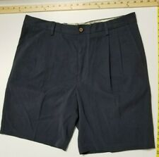 Tommy Bahama Silk Cotton Shorts - Pleated - 36 - Charcoal