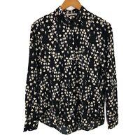 H&M Women's Navy White Floral Printed Long Sleeve Shirt Sz US2/EUR34/UK6