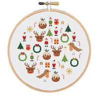 Christmas Cross Stitch Pattern, Cross Stitch Sampler, Christmas Embroidery
