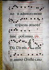 Huge flawed Antiphonary Manuscript Lf.Vellum,Unusual  R and C initials,ca.1500.